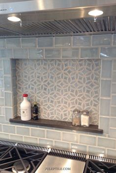 Find backsplash ideas for your next kitchen renovation. Shown here is our Bloom pattern and handmade subway tile in Sky Blue Crackle. Many thanks to Alexa Interiors & Decorative Materials for the photo | juleptile.com
