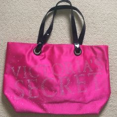 VS Tote Bag Victoria's Secret Tote Bag. Rhinestones design. Black leather straps. Never used. Victoria's Secret Bags Totes