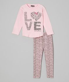 Take a look at this Pink Sparkle 'Love' Top & Zebra Pants - Toddler & Girls by Zoe on #zulily today!