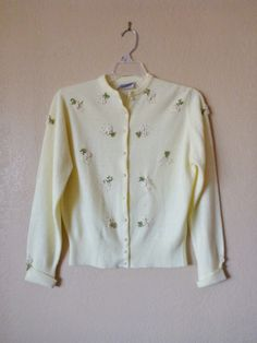 vintage LITTLE DAISY spinnerin yellow cardigan by june22nd on Etsy, $27.35