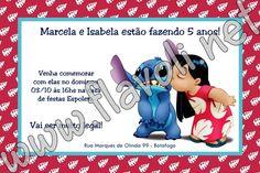 Convite Lilo & Stitch  :: flavoli.net - Papelaria Personalizada :: Contato: (21) 98-836-0113 vendas@flavoli.net