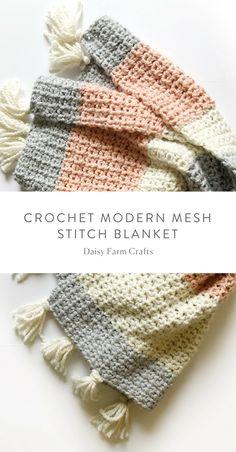 Free Pattern - Crochet Modern Mesh Stitch Blanket #crochet