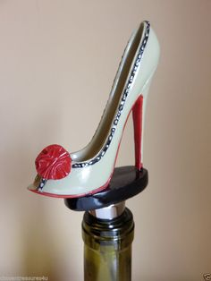 MINI SHOE DESIGN WINE STOPPER BEIGE RED BOW design 5.5 in.T GIFTCRAFT STILETTO #Giftcraft