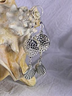 Dimpled Disc and Clam Shell Silver Bead Two Link Dangle Earrings   AmeliaOriginals - Jewelry on ArtFire