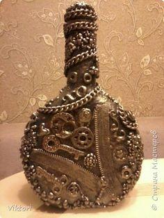 Декор предметов Ассамбляж Стимпанк  Хлам-декор  Бутылки стеклянные фото 3