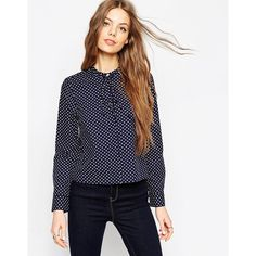 ASOS Spot Print Shirt With Tie Front (59,885 KRW) ❤ liked on Polyvore featuring tops, navy, blue cotton shirt, polka dot top, polka dot shirt, tie top and cotton crop top