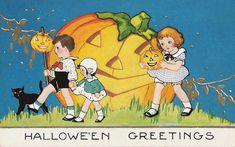 Free Vintage Halloween Cards: Cute Kids