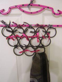 Scarf hanger for organizing... hanger, ribbon,  & cheap bangles....