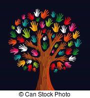 Multi social solidarity tree hands - Colorful diversity tree...