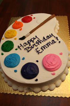 We chose the half sheet for this cake. The paint brush was made out of fondant (two different shades of brown to give it a real wood look.) Market Street bakery made this for us. Art Birthday Cake, Artist Birthday, Birthday Sheet Cakes, 9th Birthday, Birthday Ideas, Cupcakes, Cupcake Cakes, Bolo Laura, Art Party Cakes