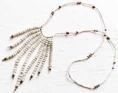Image of Love Bead Necklace - Hand Beaded Fringe with Soft Cream Seed Beads #10030