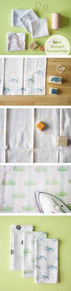 DIY Tutorial: Hand stamped handkerchiefs