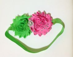 Lime green and pink polka dot fabric flower cluster baby headband, baby photo prop, shabby chic hairbow, flower girl headpiece, baby gift