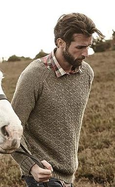"""""""Suffolk"""" is a handsome pullover with raglan sleeves and a textured body! Knit with balls of Hemp Tweed and 6 and 7 needles. Design by Lisa Richardson. Lisa Richardson, Knitting Books, Knitting Ideas, Knitting Patterns, Mens Knit Sweater, Rowan Yarn, Modern Outfits, Gentleman Style, Vintage Sweaters"""