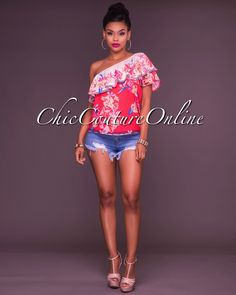 Chic Couture Online - Rebecca Red Floral One Shoulder Ruffle Top,  (http://www.chiccoutureonline.com/rebecca-red-floral-one-shoulder-ruffle-top/)