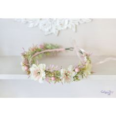 Blush Wedding flower crown Pastel bridal headpiece Pink gold bridal... ($41) ❤ liked on Polyvore featuring accessories, hair accessories, boho headbands, flower garland headband, floral headbands, bridal flower crown and beaded headband