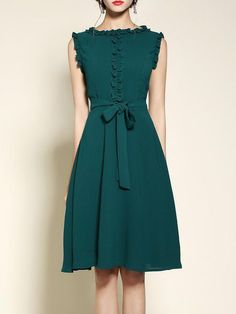 Shop Midi Dresses - Green Crew Neck Girly Polyester Bow Midi Dress online. Discover unique designers fashion at StyleWe.com.