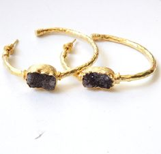 Large Amethyst Druzy Gold Hoop Earrings  Hand by petracollection
