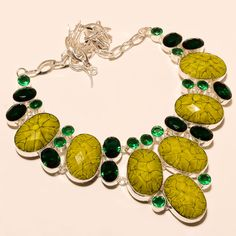 Natural Yellow Onyx, Chrome Diopside Gemstone Silver Tone Jewelry Necklace Gifts #Handmade #Choker #MothersDayGift