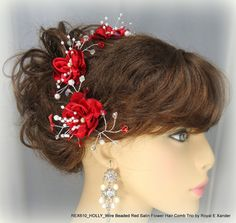 Wire Beaded Red Satin Flower Hair Comb Trio    by RoyalEXander, $32.85