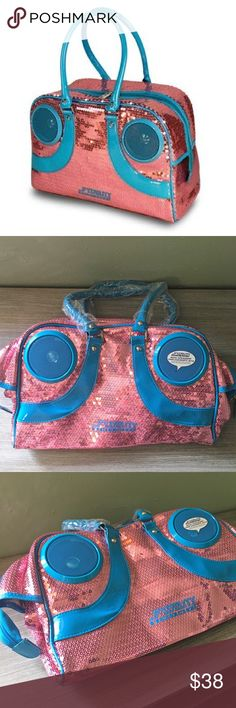 NWT Rock Steady Stereo Gym Bag Pink Sequins Brand new never used in perfect condition. ROCK STEADY STEREO GYM BAG. Old school meets high fashion in rockin' style with the Rock Steady™ beat bag. Just plug in your Phone or Music player using the included cables and break out the beats. The water-resistant stereo speakers put out 3-watts of pure sound, and are powered by 4 AA batteries for many hours of listening. Fidelity Bags