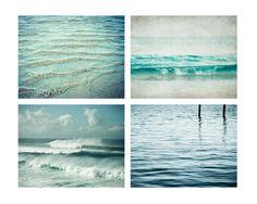 Ocean Photography Set - Beach Photography - aqua blue wall art - home decor - coastal photo set - waves seashore water beach photography. $78.00, via Etsy.