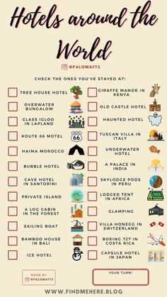 Travel Checklist, Travel List, Travel Goals, Free Travel, Holiday Checklist, Beautiful Places To Travel, Cool Places To Visit, Checklist Template, Destination Voyage