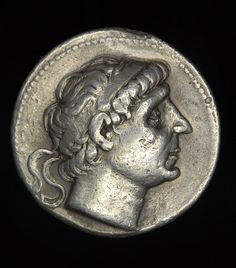 Ancient Greek Silver Tetradrachm coin with the head of Antiochus II who reigned 261-246 BCE, Hellenistic Seleucid Empire.