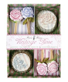 Vintage Rose Cupcake Kit by Meri Meri on zulily blow-out sale: home