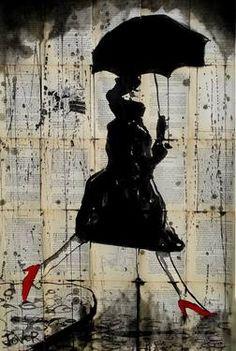 "Saatchi Art Artist Loui Jover; Drawing, ""rain, red shoes and avedon "" #art"