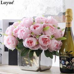 Luyue Artificial Rose Fake silk flowers bridal bouquet for wedding party and home decor 1 bouquet 10 pcs flowers