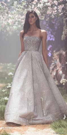 paolo sebastian spring 2018 couture strapless straight across full embellishment romantic greyish blue a  line wedding dress (28) mv -- Paolo Sebastian Spring 2018 Couture Collection