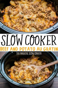 Slow Cooker Beef and Potato Au Gratin is a hearty main dish that we love. Potato… Slow Cooker Beef and Potato Au Gratin is a hearty main dish that we love. Potatoes, onion, ground beef and cheese make up this wonderful dish. – The Magical Slow Cooker Crockpot Dishes, Crock Pot Slow Cooker, Crock Pot Cooking, Ground Beef Crockpot Recipes, Slow Cooker Recipe With Ground Beef, Crockpot Recipes With Potatoes, Crockpot Meals Easy, Slow Cooker Dinners, Crock Pot Potatoes