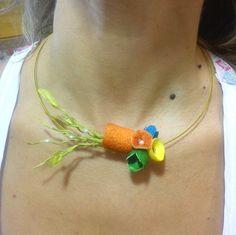 handmade silk cocoons necklace No64