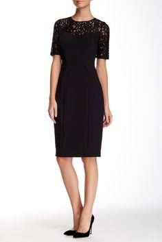 Adrianna Papell Elbow Sleeve Illusion Lace Midi Dress