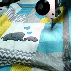 Baby elephant beddong for crib. #elephant_blanket