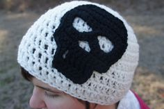 Crochet Skull White Beanie with Black Skull Hat - pinned by pin4etsy.com