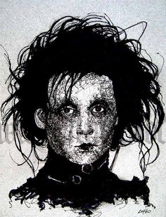 Edward Scissorhands - Original Drawing - Johnny Depp Tim Burton Gothic Horror Spooky. $27.00, via Etsy.
