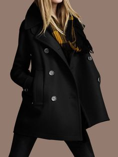 Black Double Breasted Woolen Coat - Fashion Clothing, Latest Street Fashion At Abaday.com