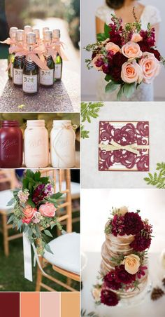 2017 burgundy and peach wedding color ideas