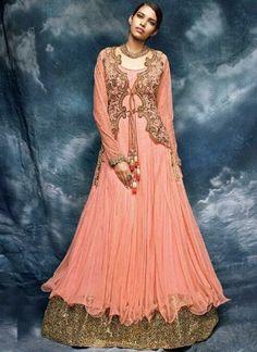 Peach Embroidery Work Net Designer Anarkali Wedding Gown Long Suit http://www.angelnx.com/Salwar-Kameez/Anarkali-Suits