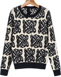 Apricot Long Sleeve Floral Knit Sweater
