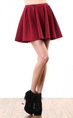 Solid Scuba Skater Skirt BURGUNDY