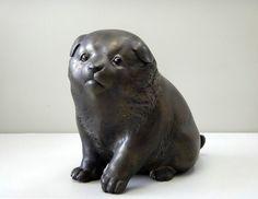 Japanese Bronze Dog figure Statue Metal work