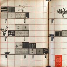 """Eames modular plywood Case Goods from 1946. This spread, designed by #HerbertMatter, is from the September 1946 issue of #ArtsandArchitecture. """"The unit cases are simply placed on low benches which lift them off the floor,"""" the caption reads. """"The benches are made in several lengths and there is no limit to the number of different combinations which may be made with the unit."""""""