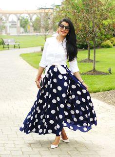 Polka Dot Full Maxi Skirt, Polka Dot Long skirt, Mix Nouveau Skirt, J Crew endless shirt