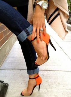 Dresswe.com SUPPLIES New Fashion Office Laddies Sling Back Orange Stiletto Heel Summer Sandals Platform Sandals
