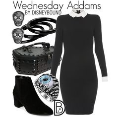 Disney Bound - Wednesday Addams (The Addams Family) Disney Themed Outfits, Disney Bound Outfits, Date Outfits, Girl Outfits, Halloween Outfits, Halloween Costumes, Halloween Clothes, Halloween Party, Character Inspired Outfits