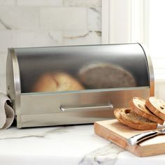 Glass & Stainless-Steel Bread Box from Williams Sonoma. Saved to Bitchin' Kitchen . Williams Sonoma, Kitchen Items, Kitchen Gadgets, Kitchen Decor, Kitchen Stuff, Kitchen Tools, Kitchen Storage, Safe Storage, Kitchen Ware
