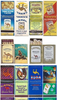 matchbooks and matchboxes branded to Camel Cigarettes.  bottom row are from the 1990s